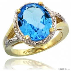 14k Yellow Gold Ladies Natural Swiss Blue Topaz Ring oval 12x10 Stone Diamond Accent