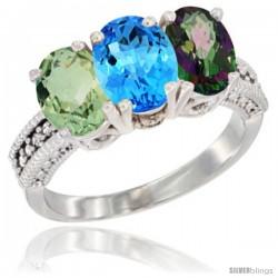 14K White Gold Natural Green Amethyst, Swiss Blue Topaz & Mystic Topaz Ring 3-Stone 7x5 mm Oval Diamond Accent