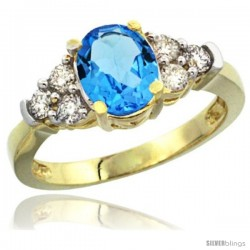 14k Yellow Gold Ladies Natural Swiss Blue Topaz Ring oval 9x7 Stone Diamond Accent