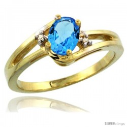 14k Yellow Gold Ladies Natural Swiss Blue Topaz Ring oval 6x4 Stone Diamond Accent -Style Cy404165