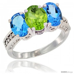 14K White Gold Natural Peridot & Swiss Blue Topaz Sides Ring 3-Stone 7x5 mm Oval Diamond Accent