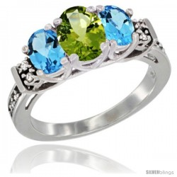 14K White Gold Natural Peridot & Swiss Blue Topaz Ring 3-Stone Oval with Diamond Accent
