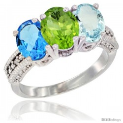 14K White Gold Natural Swiss Blue Topaz, Peridot & Aquamarine Ring 3-Stone 7x5 mm Oval Diamond Accent