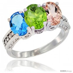 14K White Gold Natural Swiss Blue Topaz, Peridot & Morganite Ring 3-Stone 7x5 mm Oval Diamond Accent