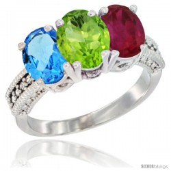 14K White Gold Natural Swiss Blue Topaz, Peridot & Ruby Ring 3-Stone 7x5 mm Oval Diamond Accent