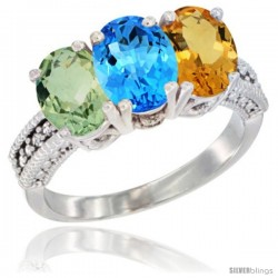 14K White Gold Natural Green Amethyst, Swiss Blue Topaz & Citrine Ring 3-Stone 7x5 mm Oval Diamond Accent