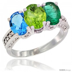 14K White Gold Natural Swiss Blue Topaz, Peridot & Emerald Ring 3-Stone 7x5 mm Oval Diamond Accent