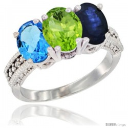 14K White Gold Natural Swiss Blue Topaz, Peridot & Blue Sapphire Ring 3-Stone 7x5 mm Oval Diamond Accent