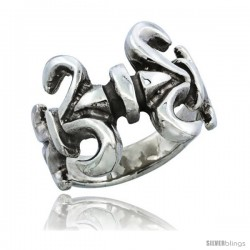 Sterling Silver Double Fleur De Lis Ring, 3/4 in. (19 mm) wide