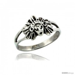 Sterling Silver Small Indian Chief Head Ring, 11/32 in. (9 mm) wide