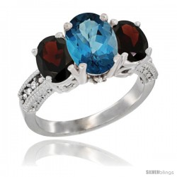 14K White Gold Ladies 3-Stone Oval Natural London Blue Topaz Ring with Garnet Sides Diamond Accent