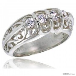 Sterling Silver 0.50 Carat Size Brilliant Cut Cubic Zirconia Bridal Ring, 5/16 in (8 mm) wide