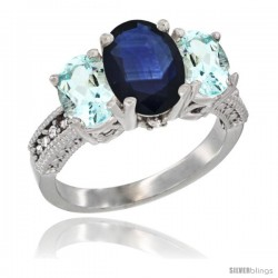 14K White Gold Ladies 3-Stone Oval Natural Blue Sapphire Ring with Aquamarine Sides Diamond Accent