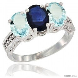 14K White Gold Natural Blue Sapphire & Aquamarine Sides Ring 3-Stone Oval 7x5 mm Diamond Accent