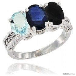 14K White Gold Natural Aquamarine, Blue Sapphire & Black Onyx Ring 3-Stone Oval 7x5 mm Diamond Accent