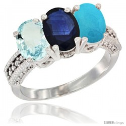 14K White Gold Natural Aquamarine, Blue Sapphire & Turquoise Ring 3-Stone Oval 7x5 mm Diamond Accent