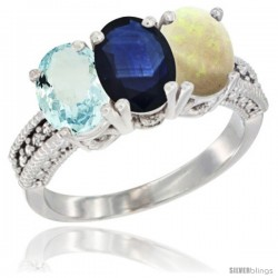 14K White Gold Natural Aquamarine, Blue Sapphire & Opal Ring 3-Stone Oval 7x5 mm Diamond Accent