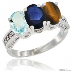 14K White Gold Natural Aquamarine, Blue Sapphire & Tiger Eye Ring 3-Stone Oval 7x5 mm Diamond Accent