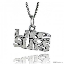 Sterling Silver LIFE SUCKS Word Necklace, w/ 18 in Box Chain