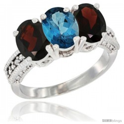 14K White Gold Natural London Blue Topaz & Garnet Sides Ring 3-Stone 7x5 mm Oval Diamond Accent