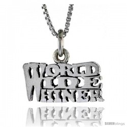 Sterling Silver WORLD WIDE WHINER Word Necklace, w/ 18 in Box Chain