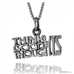 Sterling Silver THINK GOOD THOUGHTS Word Necklace, w/ 18 in Box Chain