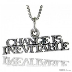 Sterling Silver CHANGE IS INEVITABLE Word Necklace, w/ 18 in Box Chain