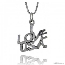 Sterling Silver I LOVE USA Word Necklace, w/ 18 in Box Chain