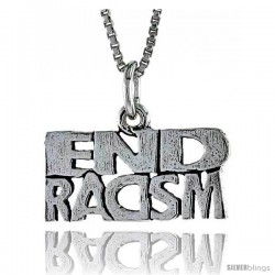 Sterling Silver END RACISM Word Necklace, w/ 18 in Box Chain