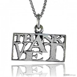 Sterling Silver THANK A VET Word Necklace, w/ 18 in Box Chain