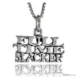 Sterling Silver FULL TIME SUCKER Word Necklace, w/ 18 in Box Chain