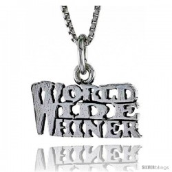 Sterling Silver WORLD WIDE WHINER Word Necklace, w/ 18 in Box Chain -Style Tpo207