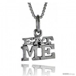 Sterling Silver EAT ME Word Necklace, w/ 18 in Box Chain
