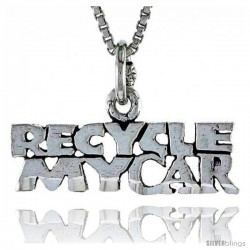 Sterling Silver RECYCLE MY CAR Word Necklace, w/ 18 in Box Chain
