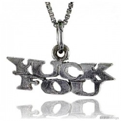 Sterling Silver YUCK FOU Word Necklace, w/ 18 in Box Chain