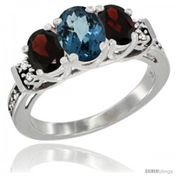 14K White Gold Natural London Blue Topaz & Garnet Ring 3-Stone Oval with Diamond Accent