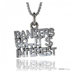 Sterling Silver BANKERS DO IT WITH INTEREST Word Necklace, w/ 18 in Box Chain