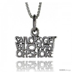 Sterling Silver SAILORS GET BLOWN OFFSHORE Word Necklace, w/ 18 in Box Chain
