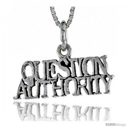 Sterling Silver QUESTION AUTHORITY Word Necklace, w/ 18 in Box Chain