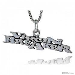 Sterling Silver VIRGIN BREAKER Word Necklace, w/ 18 in Box Chain