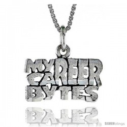 Sterling Silver MY CAREER BYTES Word Necklace, w/ 18 in Box Chain