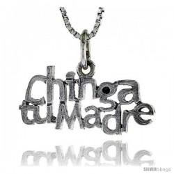 Sterling Silver CHINGA TU MADRE Word Necklace, w/ 18 in Box Chain