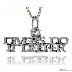 Sterling Silver DIVERS DO IT DEEPER Word Necklace, w/ 18 in Box Chain