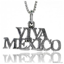Sterling Silver VIVA MEXICO Word Necklace, w/ 18 in Box Chain