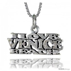 Sterling Silver I LOVE VENICE BEACH Word Necklace, w/ 18 in Box Chain