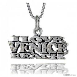 Sterling Silver I LOVE VENICE BEACH Word Necklace, w/ 18 in Box Chain