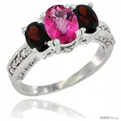 14k White Gold Ladies Oval Natural Pink Topaz 3-Stone Ring with Garnet Sides Diamond Accent