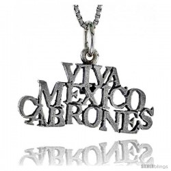 Sterling Silver VIVA MEXICO CABRONES Word Necklace, w/ 18 in Box Chain