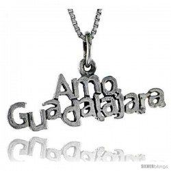 Sterling Silver AMO GUADALAJARA Word Necklace, w/ 18 in Box Chain