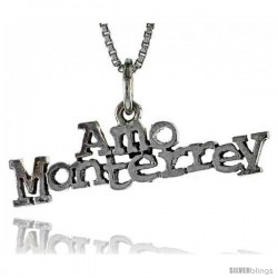 Sterling Silver AMO MONTERREY Word Necklace, w/ 18 in Box Chain